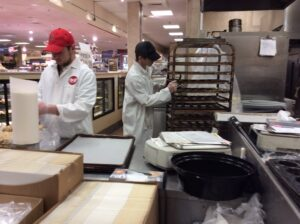 League School Students working at the Big Y Grocery Store.