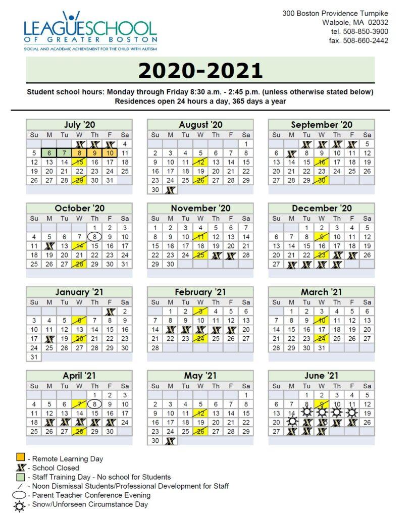School Calendar 2020 2021 – League School of Greater Boston